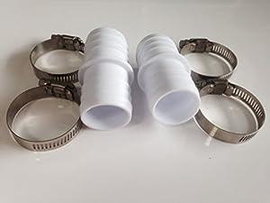 2 passgenaue Schlauchverbinder, universal für 38 mm auf 38 mm, mit 4 breiten Edelstahl Schlauchschellen