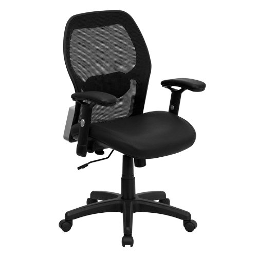 Flash Furniture LF W42B L GG Mid Back Super Mesh Office Chair With Black Ital