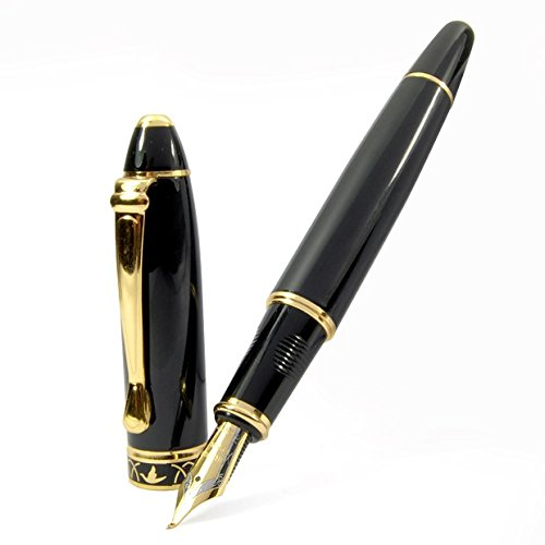 High Quality Vintage Black Calligraphy 1.7 mm Fountain Pen Chrome Ring & Tip with Push in Style Ink Converter 0