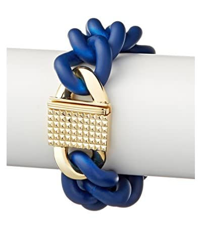 Elizabeth and James Gold-Plated Pyramid Clasp Blue Rubber Chain Bracelet