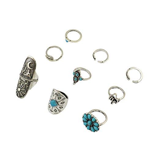 Vintage Boho Gypsy argento comune Knuckle Nail Midi Anelli Turchese Anello Set di 9anelli