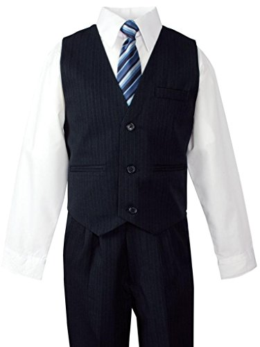 Little boys need formal suits in their wardrobes to be ready for those important family occasions. Our classically tailored five-piece suits are perfect for family, church, or school events.