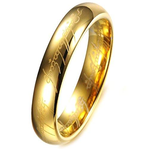 (キチシュウ)Aooazジュエリー タングステン鋼製の「The Lord Of The Rings」ユニセックスリング 指輪物語 ゴールド ロード・オブ・ザ・リング  レディース 日本サイズ19号