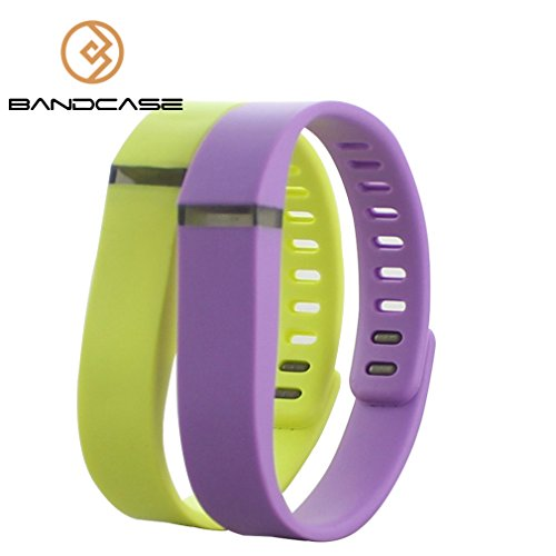 Bandcase Replacement Wristband Large Or Small Size With Metal Clasp For Fitbit Flex Activity & Sleep Tracker (No Tracker) (Lavender&Lemon Yellow, Small)