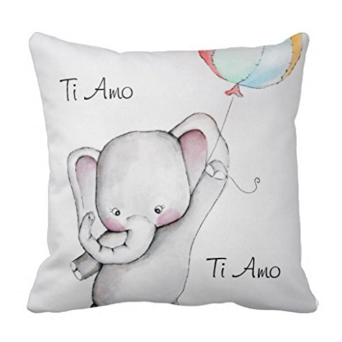 Baby Ti Amo Elefante decorativo Throw Pillow Case Square incluso-Fodera per cuscino in tela per divano 45,72 x 45,72 (18 x 18 cm