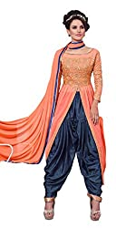 Fashion Fire Women's Orange Color Dhoti Pattern Unstiched Dress Material
