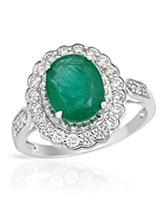 14K White Gold 0.48 CTW Color I-K SI1 Diamond and 1.95 CTW Emerald Women Ring. Ring Size 7. Total Item weight 3.4 g.
