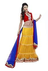 Hypnotex Women's Net Lehenga choli(Vraj7212_Yellow)