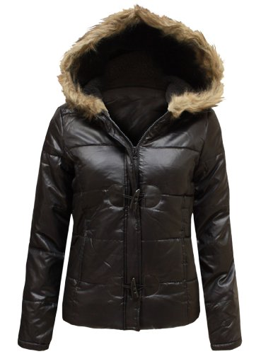ENVY BOUTIQUE NEW LADIES FAUX FUR HOODED QUILTED PADDED WOMENS SHINY DUFFLE COAT JACKET BLACK 14