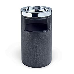 Rubbermaid Commercial FG258600BLA Smoking Urn with Metal Ashtray Top, Black