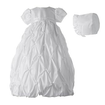Lauren Madison Baby-Girls Newborn Taffeta Dress With Puckered Embroidery, White, 0-3 Months