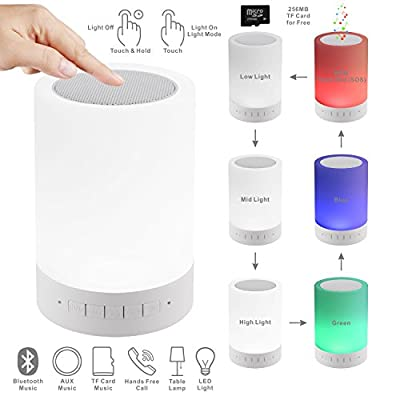LED Touch Control Table Light Bluetooth Speaker, PLENTY Portable Wireless Bluetooth Speaker LED Outdoor Camping Night Light Bedside Lamp with Free 256MB TF Card, Muisc Player,Hands-free Speakerphone