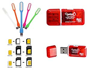 New Original Quantam Card reader combo -USB LED Light 5V + Noosy Sim Card Adapter + Quantam card reader USB 2.0 High transfer + 3 in one Combo Offer .