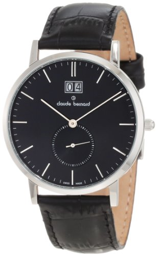 Claude Bernard Men's 64006 3 NIN Classic Gents Black Dial Leather Date Watch