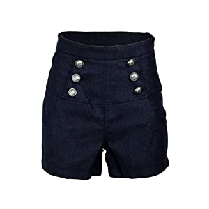 Sailor Denim Nautical Anchor Rockabilly High Waist Women's Shorts Hotpants - Large