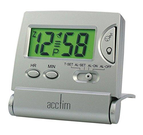 acctim denio silver digital radio controlled travel table alarm clock 71117. Black Bedroom Furniture Sets. Home Design Ideas
