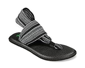 SANUK Yoga Sling 2 Womens Sandals, Black/White, 9