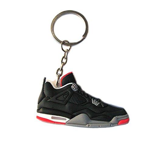 Air Jordan Retro 4 Varsity Red-Cement Grey Sneaker Chicago Bulls AJ 23 Keychain Keyring