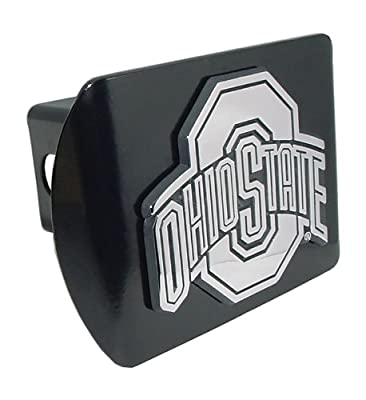 "Ohio State University Buckeyes ""Black with Chrome ""O"" Emblem"" NCAA College Sports Trailer Hitch Cover Fits 2 Inch Auto Car Truck Receiver"