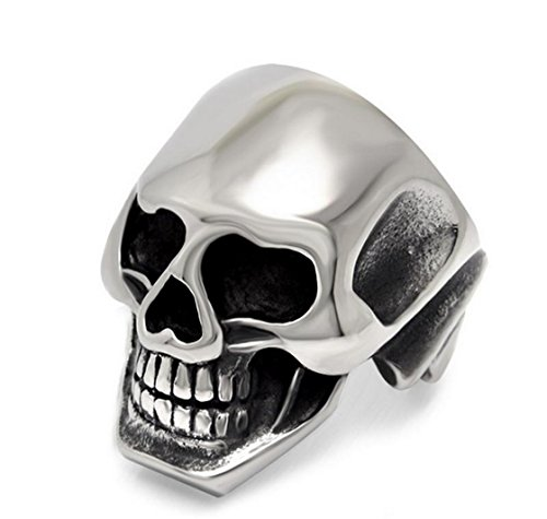 PSRINGS Mirror Smooth Lastest Design s Boy Skull Head Ring 316L Stainless Steel Punk Style Ring Skull Cool Finger Rings 10.0 (Lil Kim Halloween Costume compare prices)
