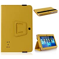Wisedeal IKASEFU Universal Textured Slim Fit Folio Stand Leather Case Cover for 7 Inch Android Tablet(Q88) (Yellow) by IKASEFU