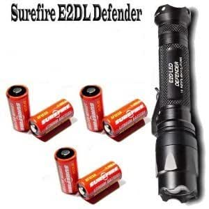 SureFire E2D LED Defender + 6 Extra Batteries E2DL-BK Dual-Output LED 2012 Model (200 Lumens)