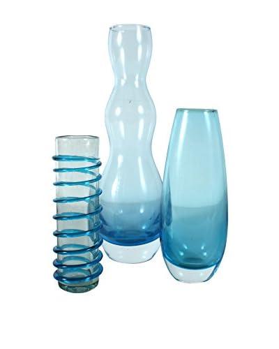 Set of 3 Hand-Blown Blue Art Glass