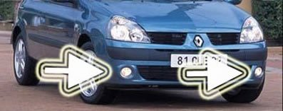 01-08 RENAULT CLIO II FOG LIGHTS DRIVING LAMPS 05 06 07