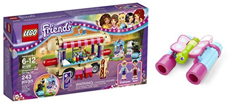 LEGO Friends Amusement Park Hot Dog Van 243 Pcs & free Gifts Butterfly Binoculars (Colors may vary) Toys