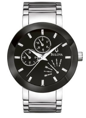 Bulova Men's 96C105 Black Dial Bracelet Watch by Bulova