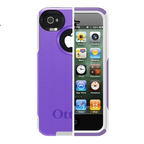 Otterbox Commuter Series Hybrid Case for iPhone 4 & 4S  - Retail Packaging - Purple 10/White