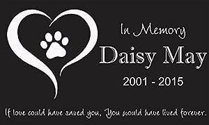 "Personalized Pet Stone Memorial Marker Granite Marker Dog Cat Horse Bird Human 6"" X 10"" Personalised Yorkshire Terrier Weimaraners"