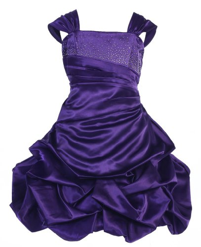 Wonder Girl Shirley Temple Big Girls' Satin Short Pick Up Rhinestone Dress 4 Purple