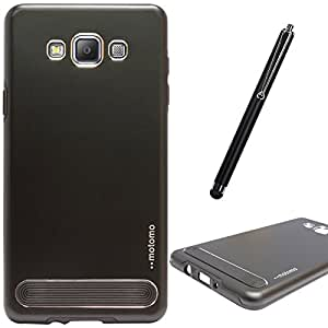 DMG Motomo Ultra Tough Metal Shell Case with Side TPU Protection for Samsung Galaxy A5 (Black) + Touch Screen Stylus