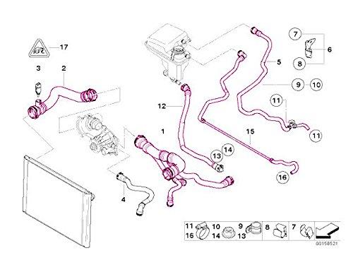 Bmw e65 e66 760 radiator hose kit (5 pcs) upper +lower +expansion tank