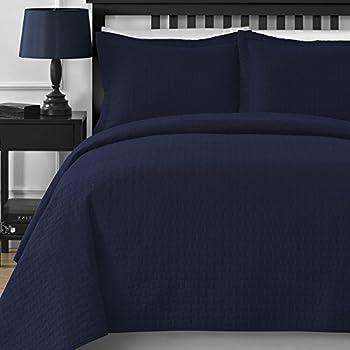 Comfy Bedding Frame Thermal Pressing 3-piece Oversize Coverlet Set Navy Blue King