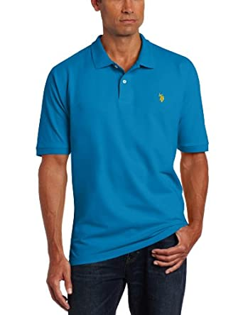 U.S. Polo Assn. Men's Solid Pique Shirt, Teal Blue, Medium
