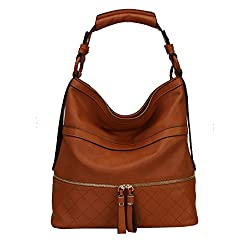 Diophy Front Double Zipper Fashion Hobo Bag