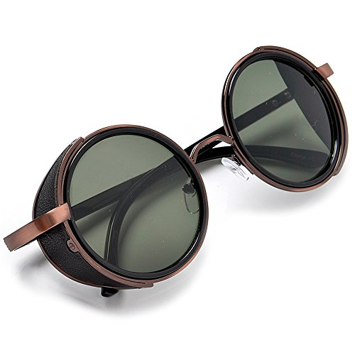Sunglass Spot-Victorian/Steampunk Vintage Fashion Full Metal Round Rustic Copper With G-15 Lens Sunglasses Plus Case