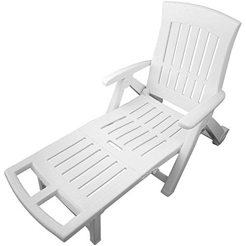 Rollbare Gartenliege Vollkunststoff Liege rollbar Gartenliege Sonnenliege Rollliege Relaxliege Gartenstuhl Klappstuhl Liegestuhl 5 Positionen verstellbar Balkonmöbel Terrassenmöbel Weiß
