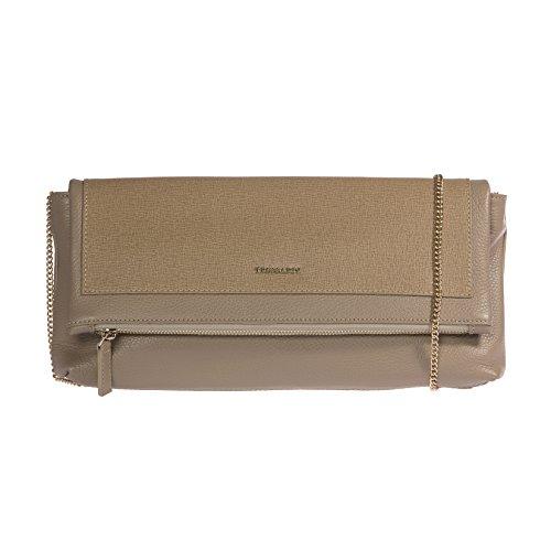 Trussardi Borsetta a Mano da Donna, Pochette con catena metallica per trasporto su spalla in vera pelle Saffiano 100% Vitello - 34x16x6 cm