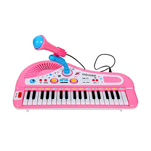 Dekoo Electronic Kids Piano + Microphone , Simulation of 37-Key Multi-function Organ Keyboard Volume Adjust Demo Songs Play Educational Toy USB Power Cord (Included) (Electronics Sale compare prices)
