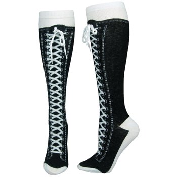 Printed Laces Knee-high Socks