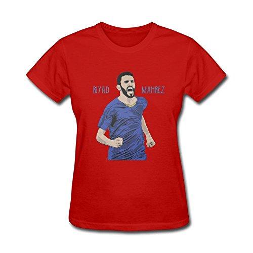 pk6b7d lettori Riyad Mahrez T Shirt per le donne Red Large