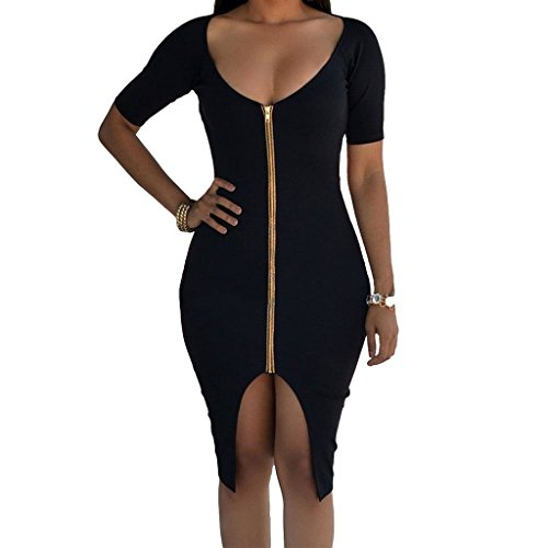monroe-s-womens-zip-front-bodycon-backless-short-sleeve-party-evening-dress