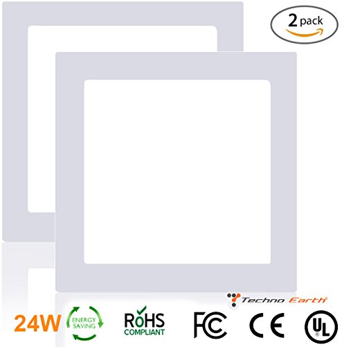 Techno Earth 24W Dimmable Square Ceiling Panel Led Ultra Thin Glare Light Kits with Led Driver AC 85-265V - Natural White - 2 Pack (Techno Strip compare prices)