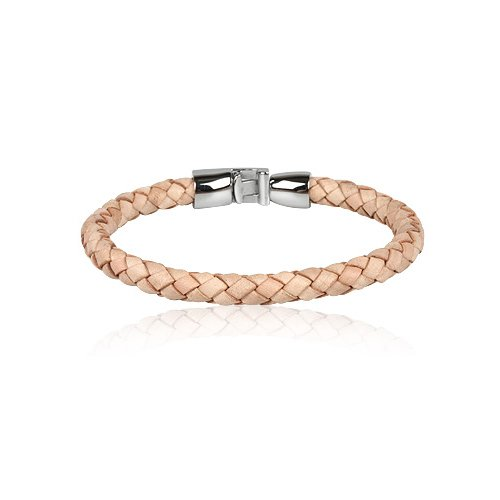 Stainless Steel Natural Leather Man Bracelet 21cm