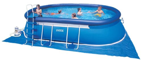 Intex 57982gs kit piscine ellipse 6 10 x 3 66 x 1 22 m for Piscine intex 3 66 x 1 22