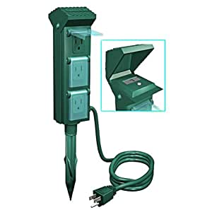 Outdoor Christmas Light Yard Power Stake With Photocell 10 Ft