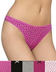 5 Pack Cotton Rich Marl Heart Print Thongs